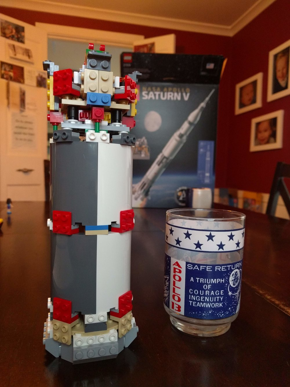 S-II (second stage) under construction, with an Apollo 13 glass for scale.