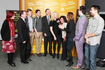 The Honourable Peter Kent, Minister of Environment Meets with Global Vision Director, Amy Giroux and youth at the announcement.