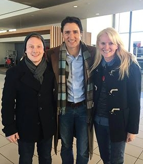 Adam (left) and Amy Clifford (right), Director of Global Vision, photographed with Prime Minister Justin Trudeau whilst representing the organization.