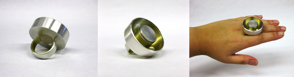 Hollow Construct Ring    Material: Silver, Brass, Plexiglass