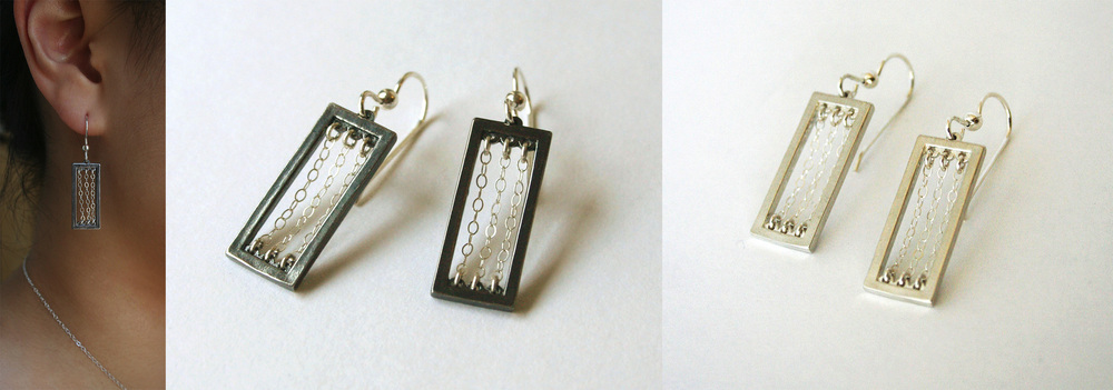 Rectangle x Chain Series - Earrings      Material: Silver