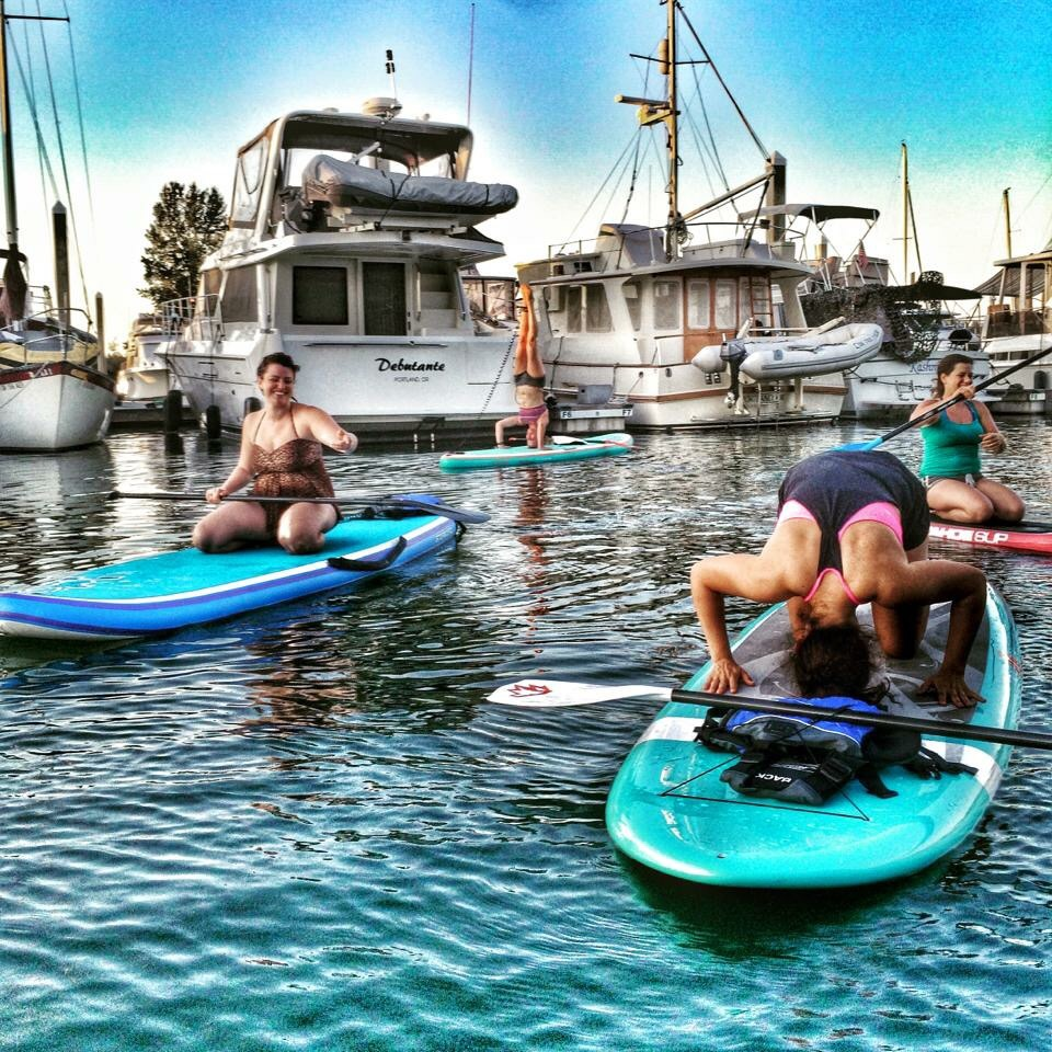 Sup yoga at Salpare Marina, Portland, Oregon