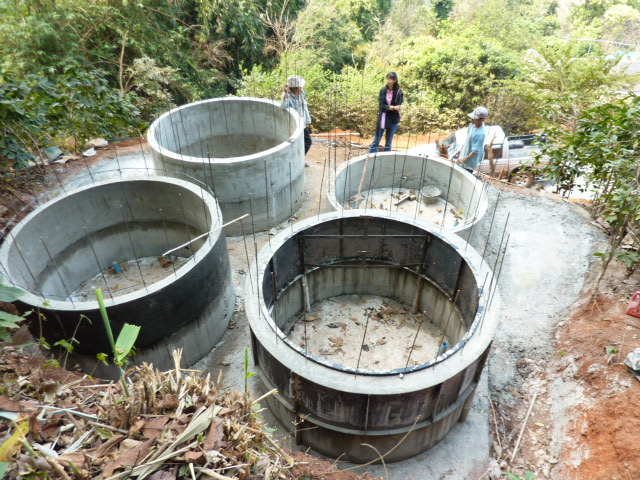 Two metre diameter tanks under construction