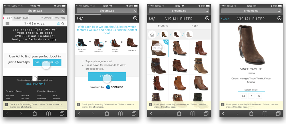 November 2015  —  I came across the Visual Filter AI by Sentient for Shoeme.ca and it appears to be their initial deploy.