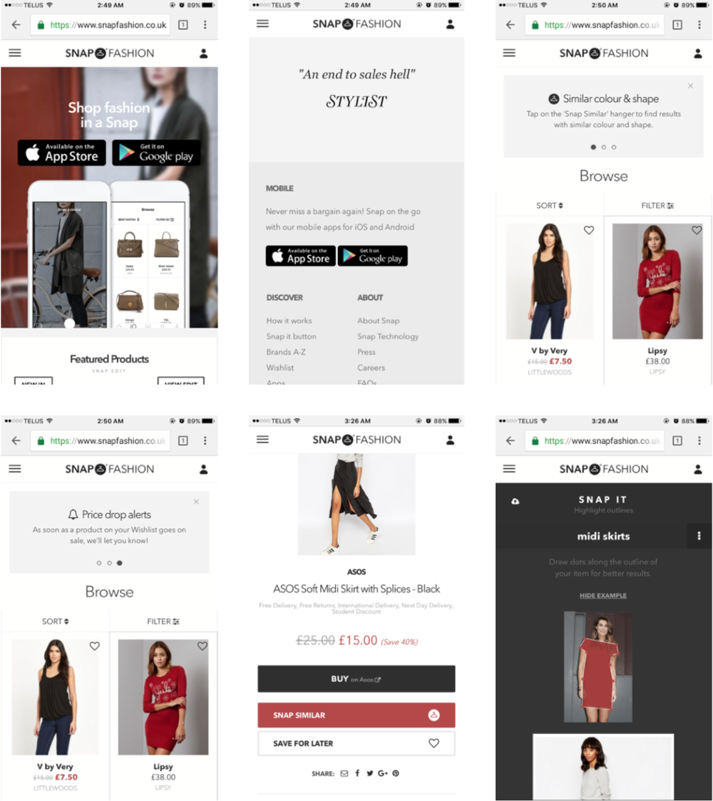 "Screenshots via snapfashion.co.uk.  The homepage consists of product offerings, while allowing shoppers to interact with the product and check out its features, such as ""Snap Similar"" using AI + photo segmentation, price drop alerts, and saving products — without forcing initial account creation."