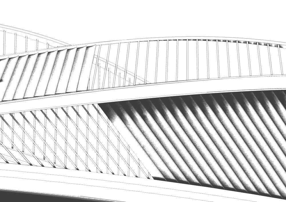 Bridge louvers with bi-directional vein patterns