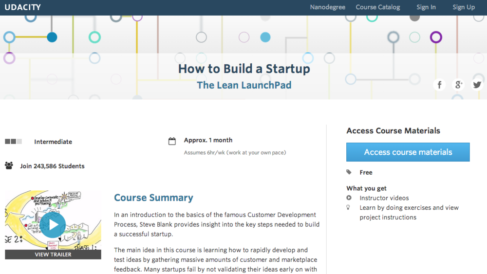 Course: The Lean LaunchPad.