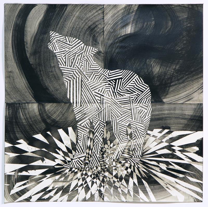 Lenneke van der Goot,  Wolf (Dance Floor) #2 , 2014, gemengde techniek op papier 80x80