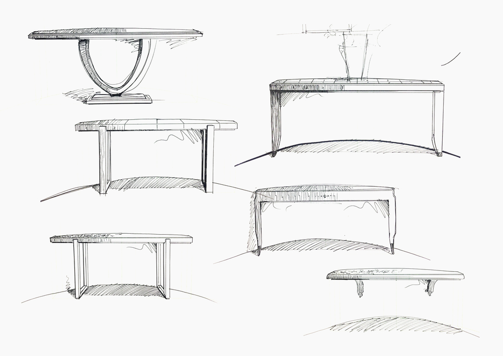 Initial sketches of a console table.