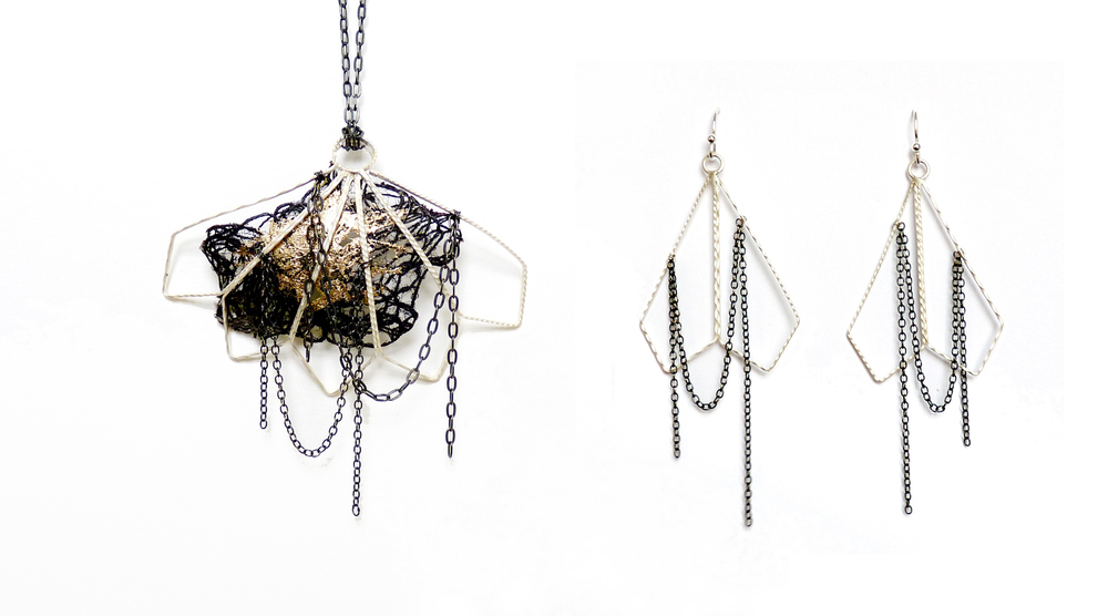 Diamond Fan Pendant and Earrings -  silver, copper coated textile, gold leaf. 2012