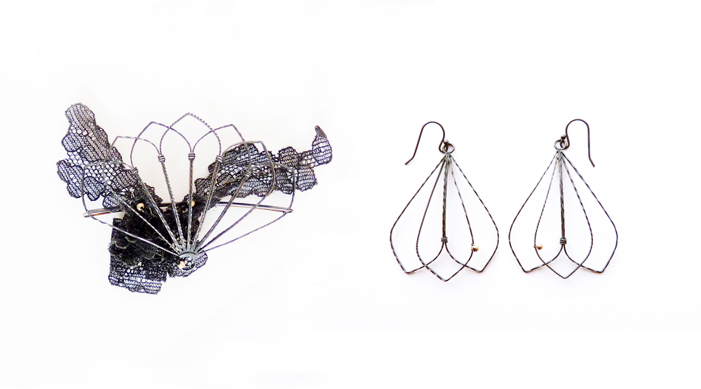 Fan Railings Brooch and Earrings -  oxidised silver, 9ct gold, vintage lace. 2012
