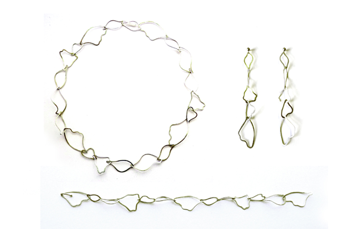 Linked Wings Necklace, Bracelet and Drop Earrings  sterling silver