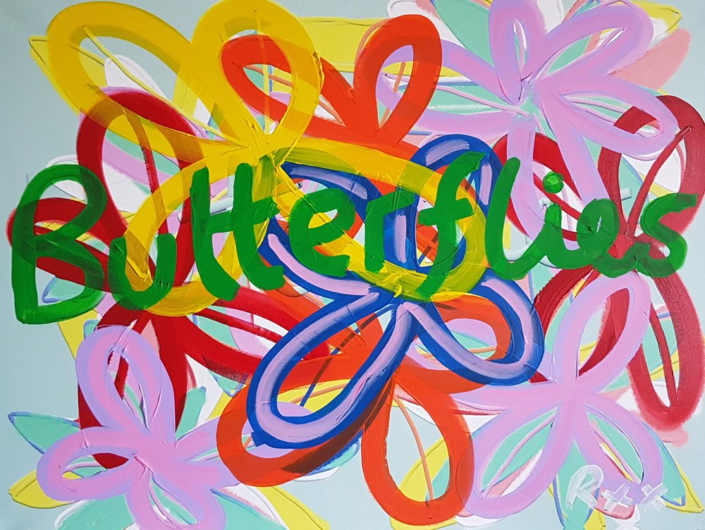 "Richard Popitti ""Butterflies"" Mixed Media  36 x 48"
