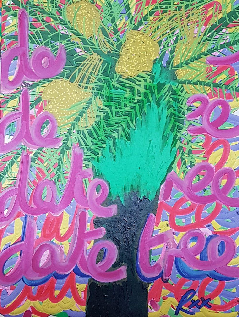 "Richard Popitti ""Date Tree"" Mixed Media 40 x 30"