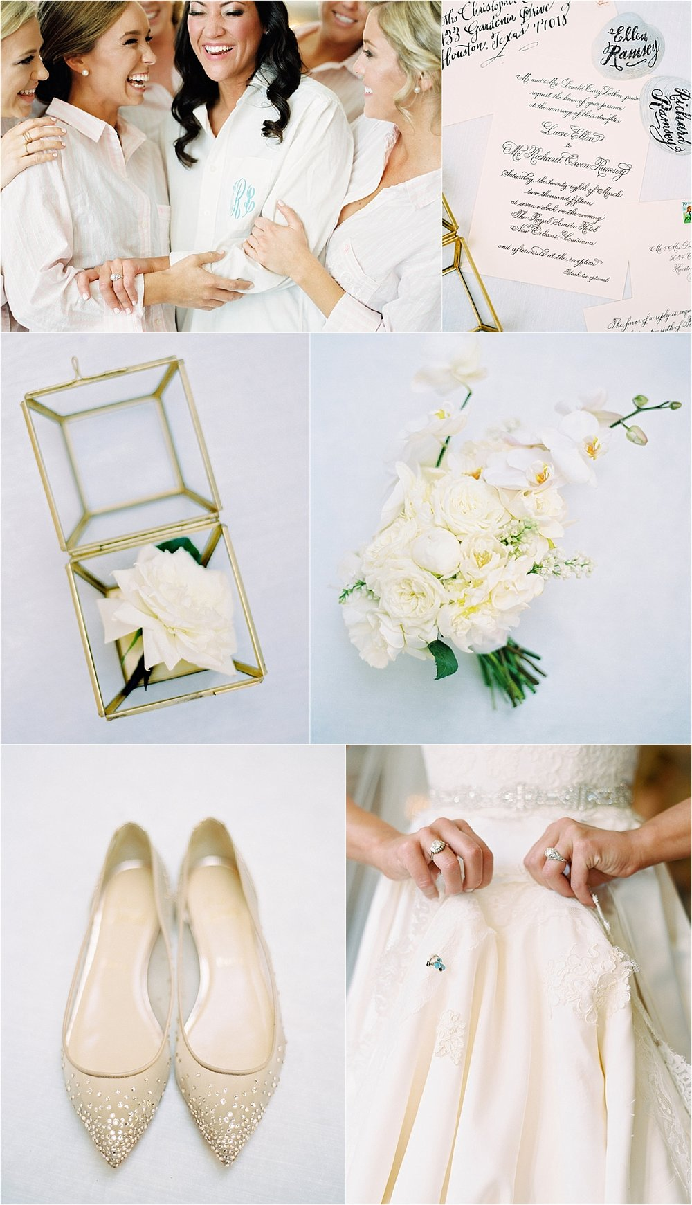 Wedding Planning | New Orleans Wedding | French Quarter Wedding | Sapphire Events | Ryan Ray Photography | White and Green Wedding | Formal Black Tie Wedding | Monique Lhuillier Dress | Christian Louboutin Flats | Gardenia and Orchid flowers