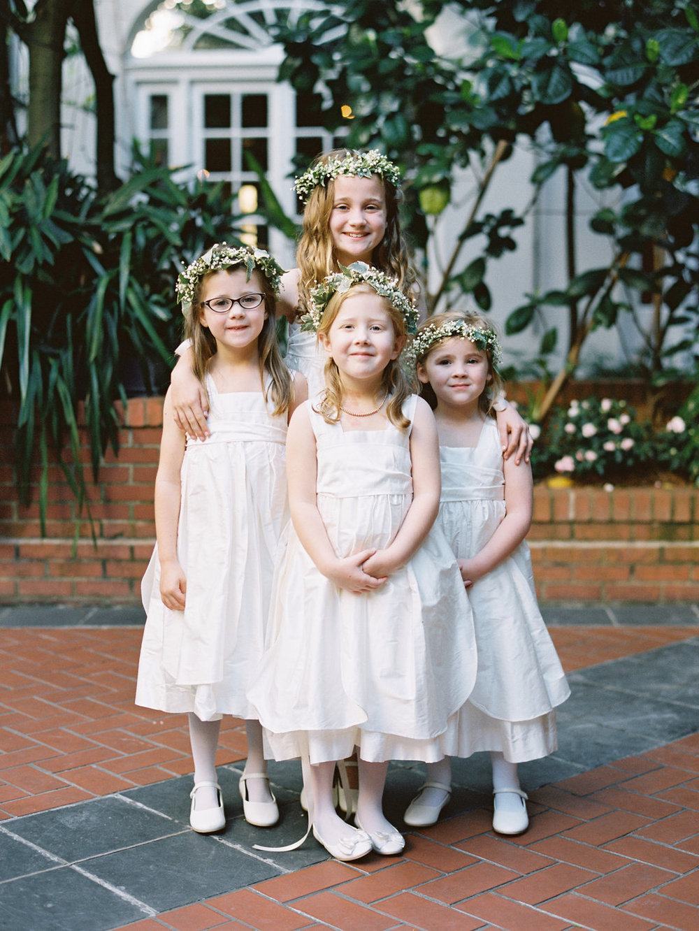 Wedding Planning | New Orleans Wedding | French Quarter Wedding | Sapphire Events | Ryan Ray Photography | White and Green Wedding | Formal Black Tie Wedding | Monique Lhuillier Dress | Flower Girls | Flower Crowns | Floral Wreaths