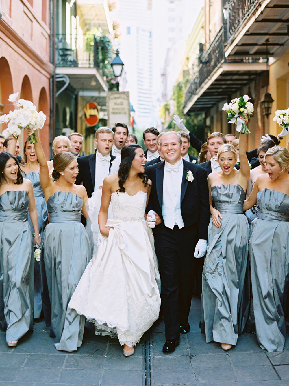 Wedding Planning | New Orleans Wedding | French Quarter Wedding | Sapphire Events | Ryan Ray Photography | White and Green Wedding | Formal Black Tie Wedding | Monique Lhuillier Dress | Tux with Tails | Gray and white wedding | Grey and White wedding | Bridal Party Photo | Exchange Alley | New Orleans Wedding