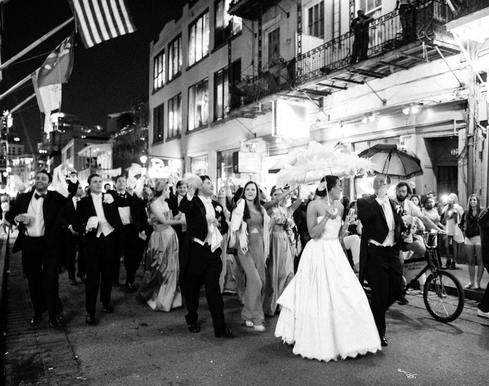 Wedding Planning | New Orleans Wedding | French Quarter Wedding | Sapphire Events | Ryan Ray Photography | White and Green Wedding | Formal Black Tie Wedding | Monique Lhuillier Dress | Formal wedding | Black tie wedding | Green and white wedding | bride groom dance | evening wedding | second line parade | second line wedding  | french quarter second line | royal street | new orleans architecture