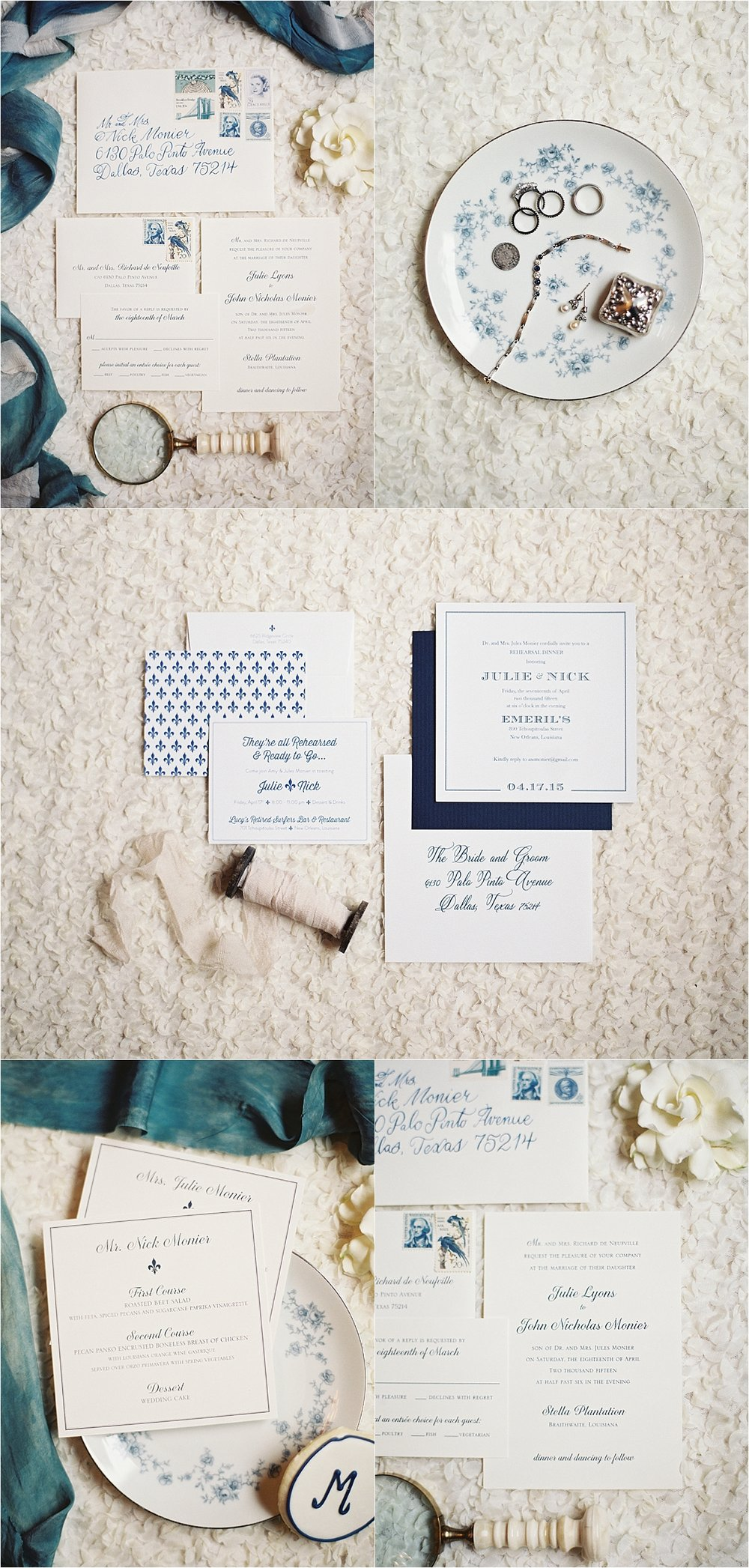 Sapphire Events | Catherine Guidry Photography | Wedding Planning | New Orleans Wedding | Stella Plantation Wedding | Blue and White Wedding | Classic Rainy Day Wedding | Outdoor Wedding | Tent Wedding | Hunter Boots | Blue and White Stationery | Blue Calligraphy | Blue and White Wedding Details