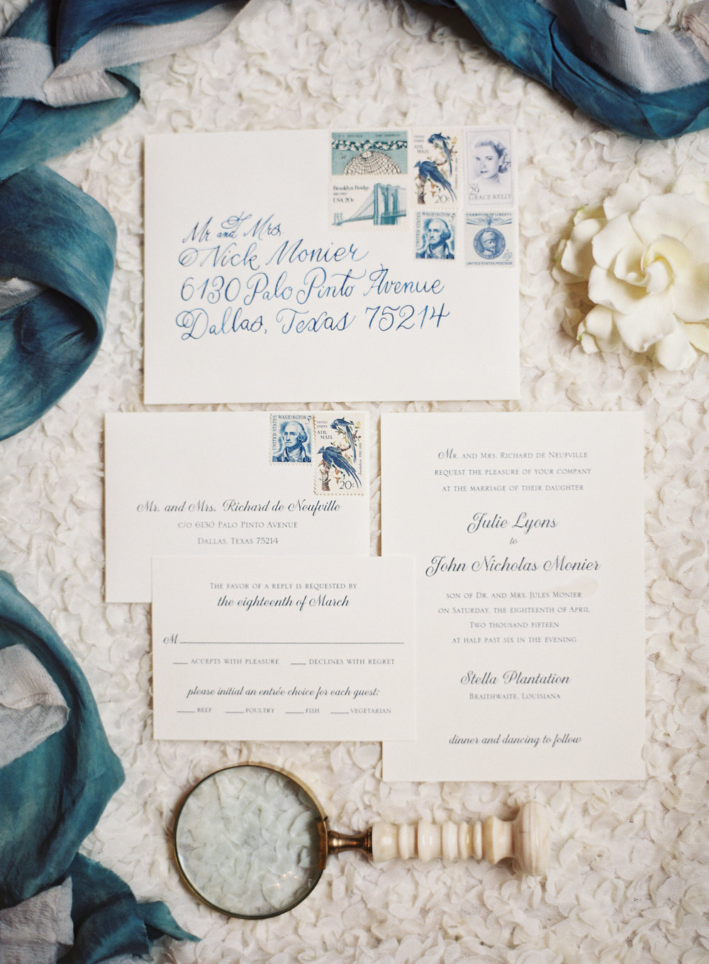 Sapphire Events | Catherine Guidry Photography | Wedding Planning | New Orleans Wedding | Stella Plantation Wedding | Blue and White Wedding | Classic Rainy Day Wedding | Outdoor Wedding | Tent Wedding | Hunter Boots | Blue and White Wedding Details | Blue and White Stationery | Blue Calligraphy | Vintage Stamps