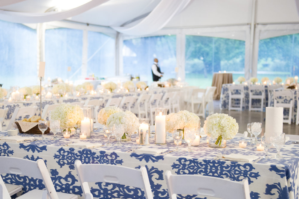 Sapphire Events | Catherine Guidry Photography | Wedding Planning | New Orleans Wedding | Stella Plantation Wedding | Blue and White Wedding | Classic Rainy Day Wedding | Outdoor Wedding | Tent Wedding | Hunter Boots | Blue and White Wedding Details | Seated dinner | Tent draping ideas