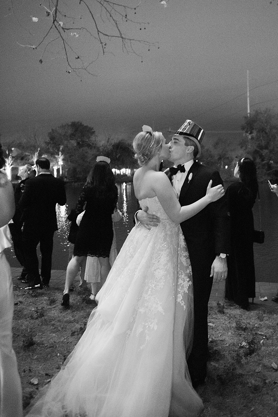 Classic black and white black-tie wedding at home | Sapphire Events | Jacqueline Dallimore Photo | NYE Wedding | Estate Wedding | Tented Wedding | Monique Lhuillier gown | Blush Wedding dress | New Year's Eve wedding