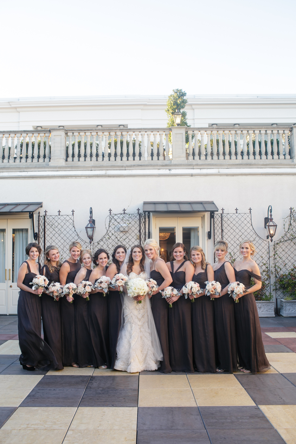 Grey bridesmaids dresses | Mercier Terrace Ritz-Carlton | How to transform an open ballroom with stunning decor | Sapphire Events | Greer G Photography | Board of Trade | White and Gold Wedding | Winter Wedding Inspiration | White and Green Wedding | Ballroom wedding