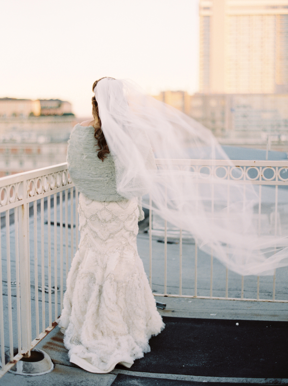 Rooftop portraits | Urban Wedding | New Orleans Skyline | How to transform an open ballroom with stunning decor | Sapphire Events | Greer G Photography | Board of Trade | White and Gold Wedding | Winter Wedding Inspiration | White and Green Wedding | Ballroom wedding