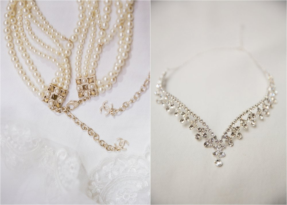 Chanel pearls | This is what happens when a bride asks her guests to wear all white | Wedding En Blanc | Sapphire Events | Erika Parker Photography Montegut House | Luxury Wedding | Courtyard wedding | French Quarter Wedding | Luxe Wedding Details