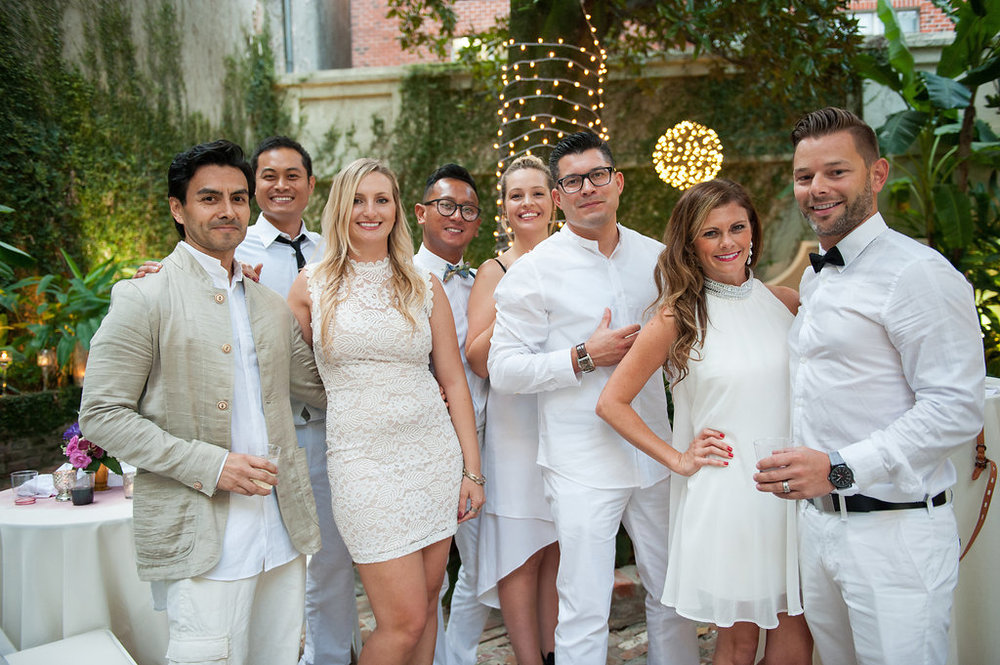 This is what happens when a bride asks her guests to wear all white | Wedding En Blanc | Sapphire Events | Erika Parker Photography Montegut House | Luxury Wedding | Courtyard wedding | French Quarter Wedding | Luxe Wedding Details