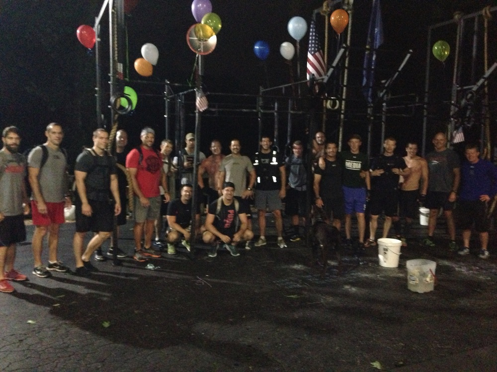 Best Birthday Party EVER!  Triple Murph with my buddies and my son.  Yes...there are that many crazy people who would want to tackle a Triple Murph.