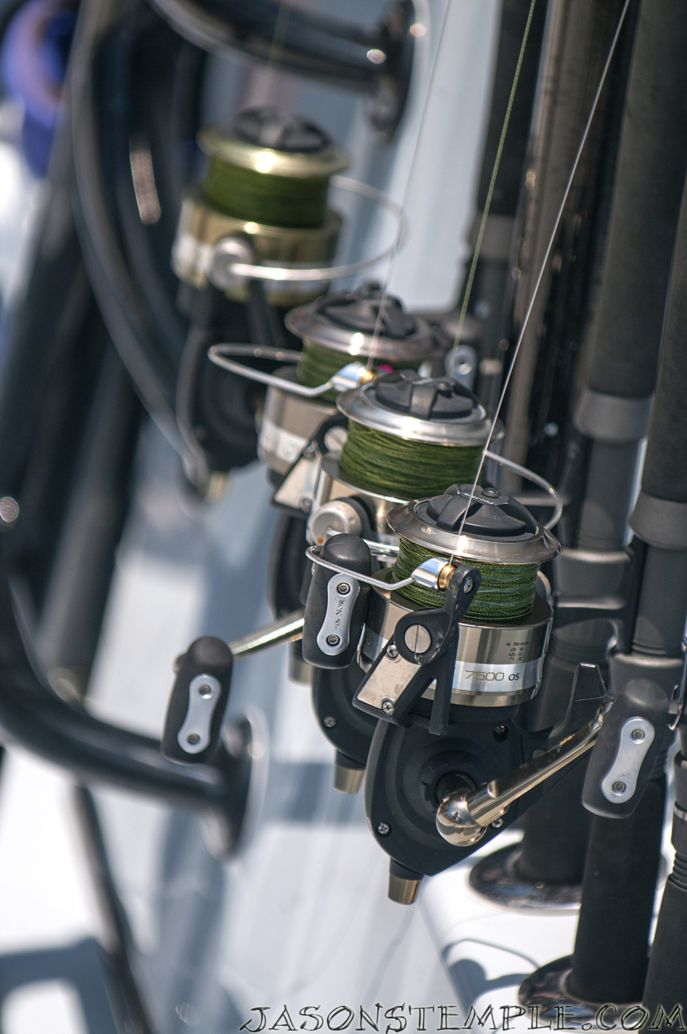 "Shown here is an arsenal of Fin Nor 7500 which is another of my favorite ""Boat Rod' reels."