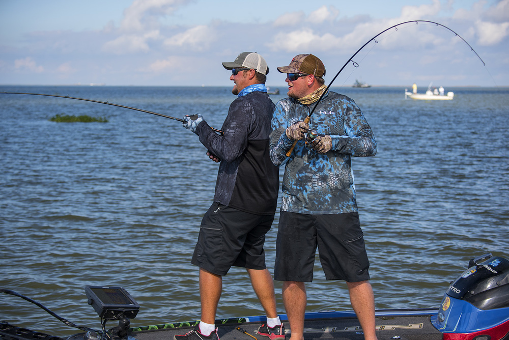 Joey and Miles used their standard bass tackle, both spin and baitcaster, successfully in saltwater while fishing with Tom Rowland in Louisiana