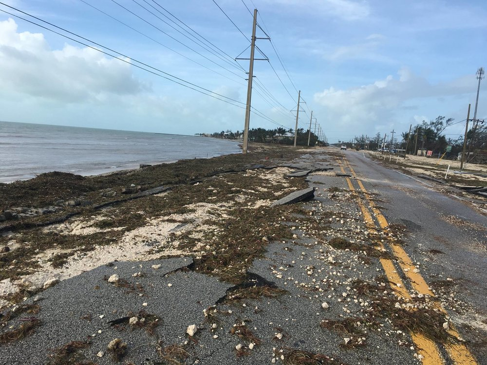 Photo of U.S, 1 road damage along Sea Oates Beach by Cammy Clark/Monroe County