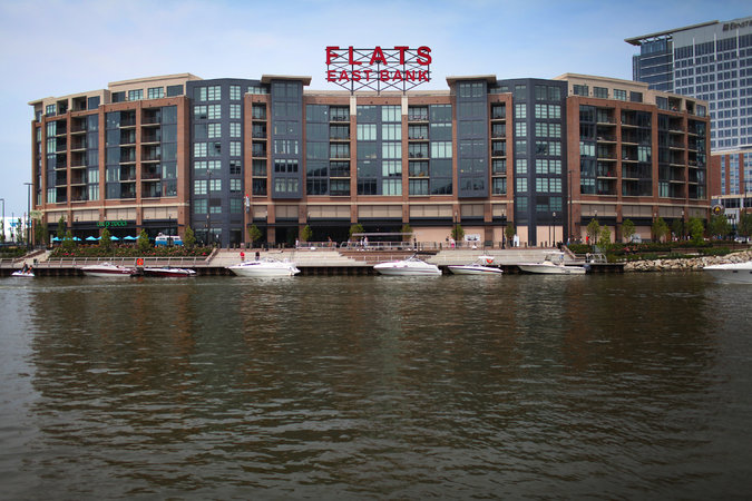 Flats East Bank is a mixed-use retail and live space with restaurants, clubs, condos and a hotel in Cleveland's redeveloped Flats area.   Credit  Michael F. McElroy for The New York Times
