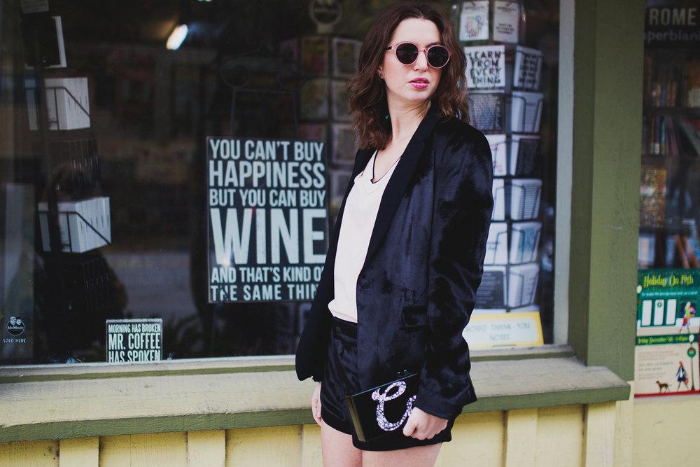 Rag & Bone shorts velvet tux, EdieParker 'cool' clutch