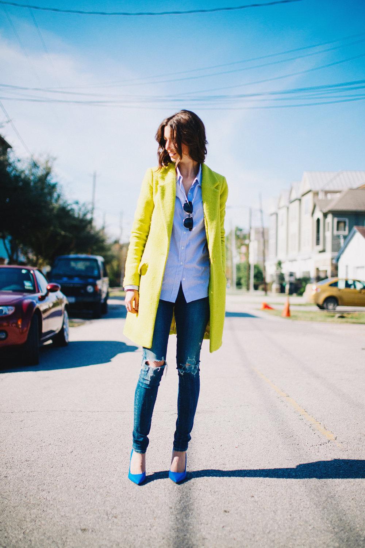 Bright green chartreuse coat