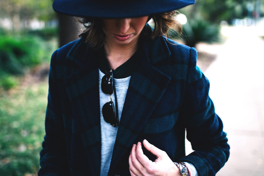 Navy plaid jacket and hat