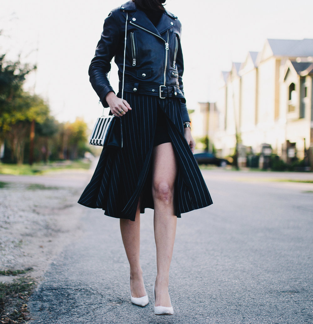 Slit midi skirt with leather moto outfit
