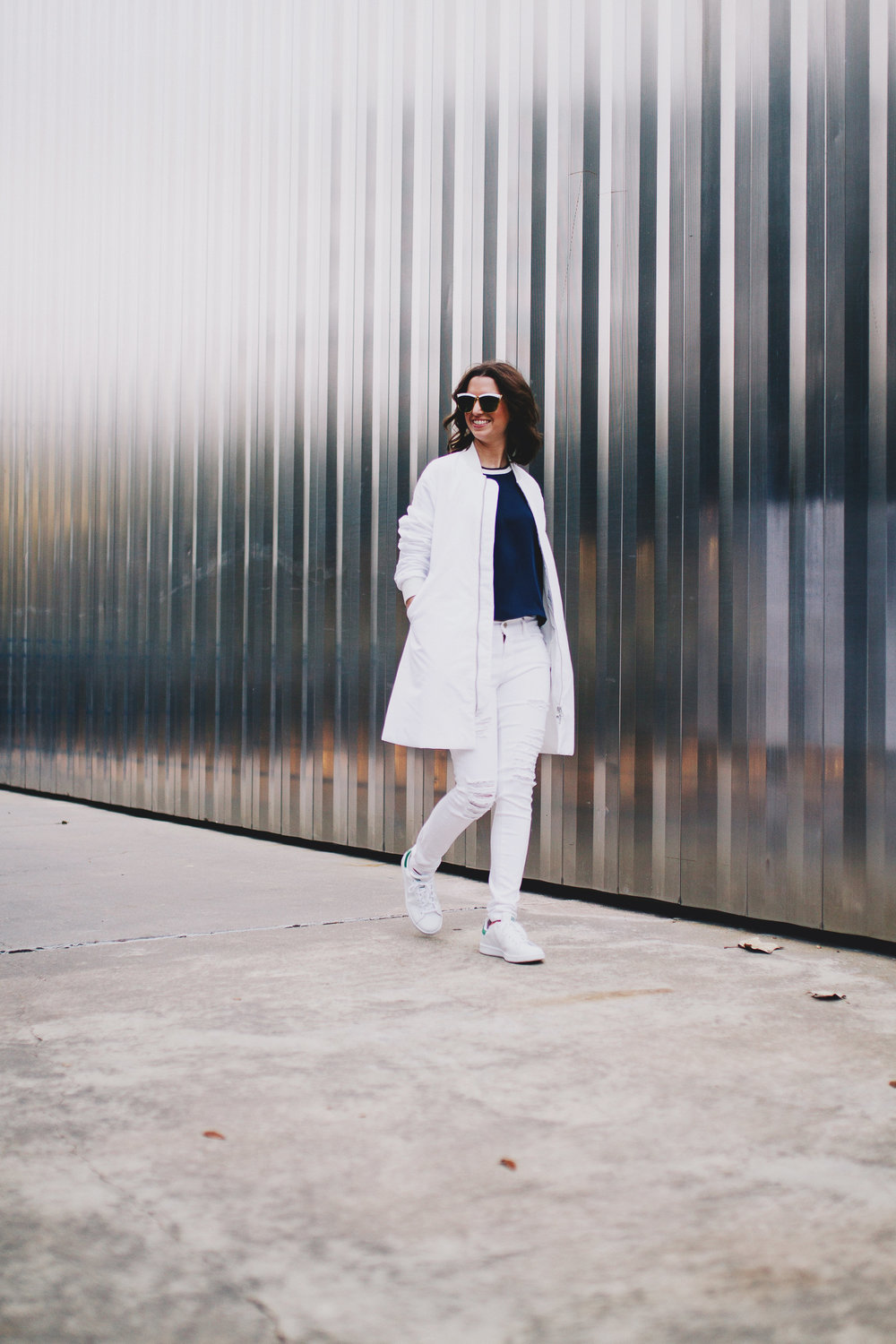 Winter white puffy jacket outfit