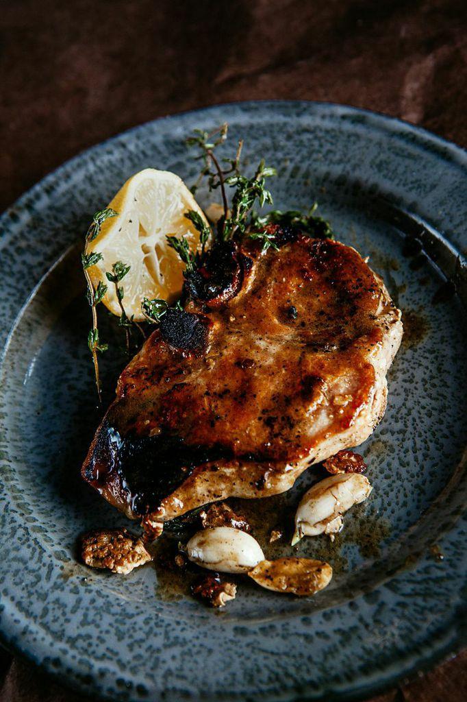 Lemony salty pork chops