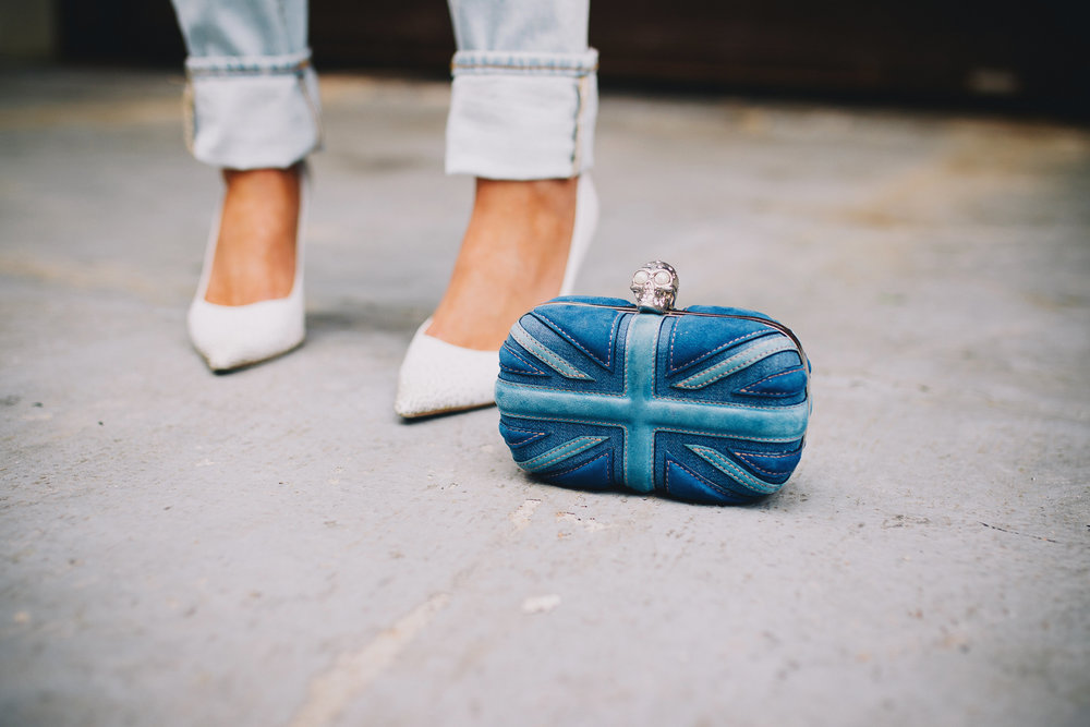 Alexander McQueen blue Union Jack clutch
