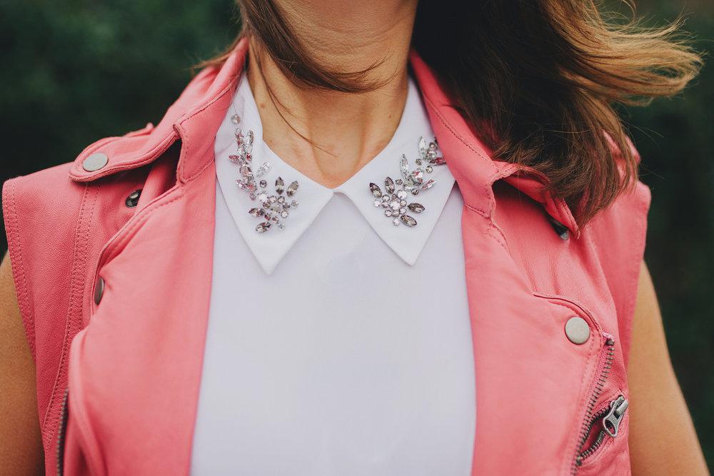 Equipment embellished collar and pink moto vest