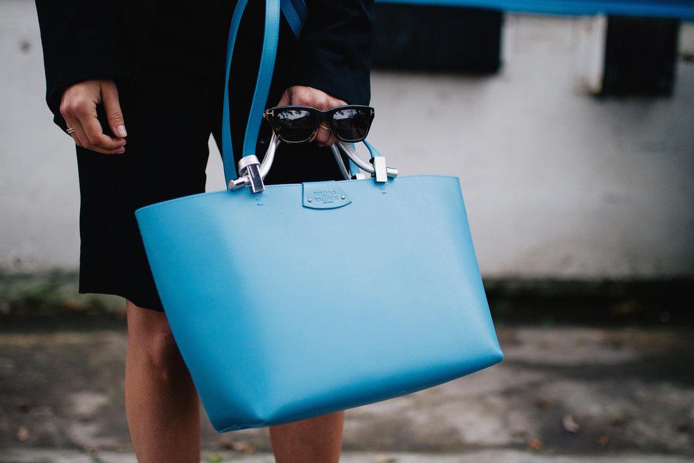Fairchild Baldwin Olivia tote in blue and silver