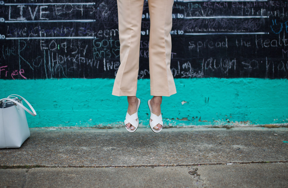 Cropped flare pant in peach with white J. Crew slides www.theshoediet.com