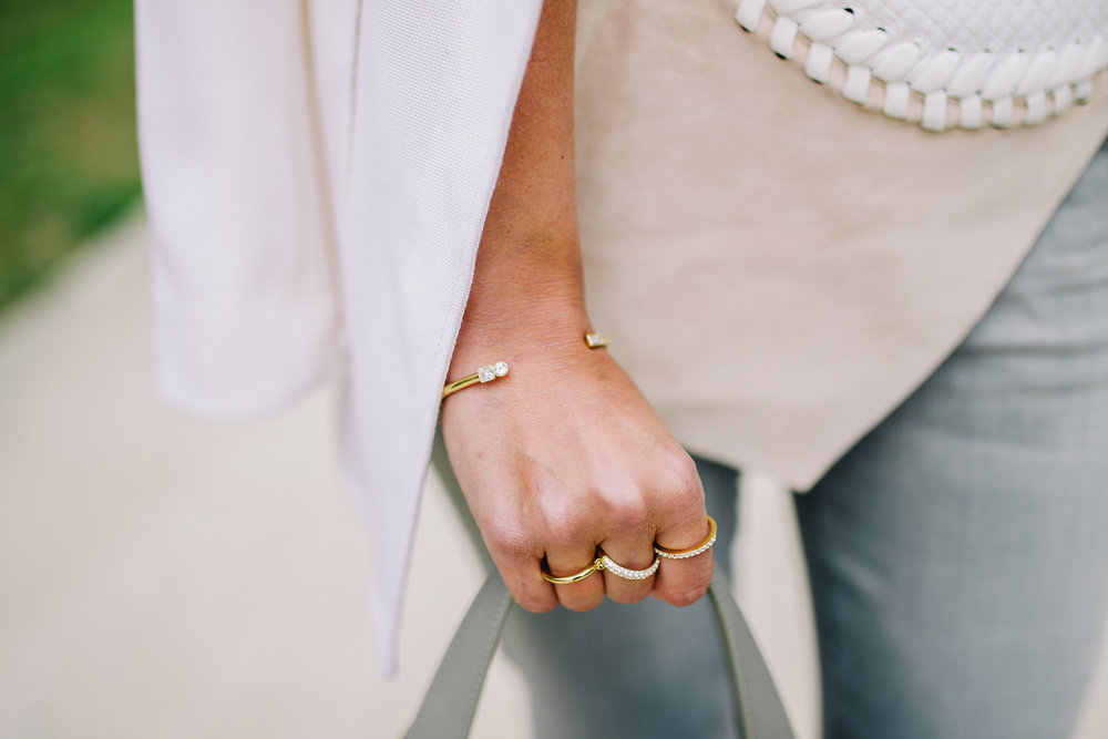 Elizabeth & James gold and white crystal bangle bracelet and three finger ring