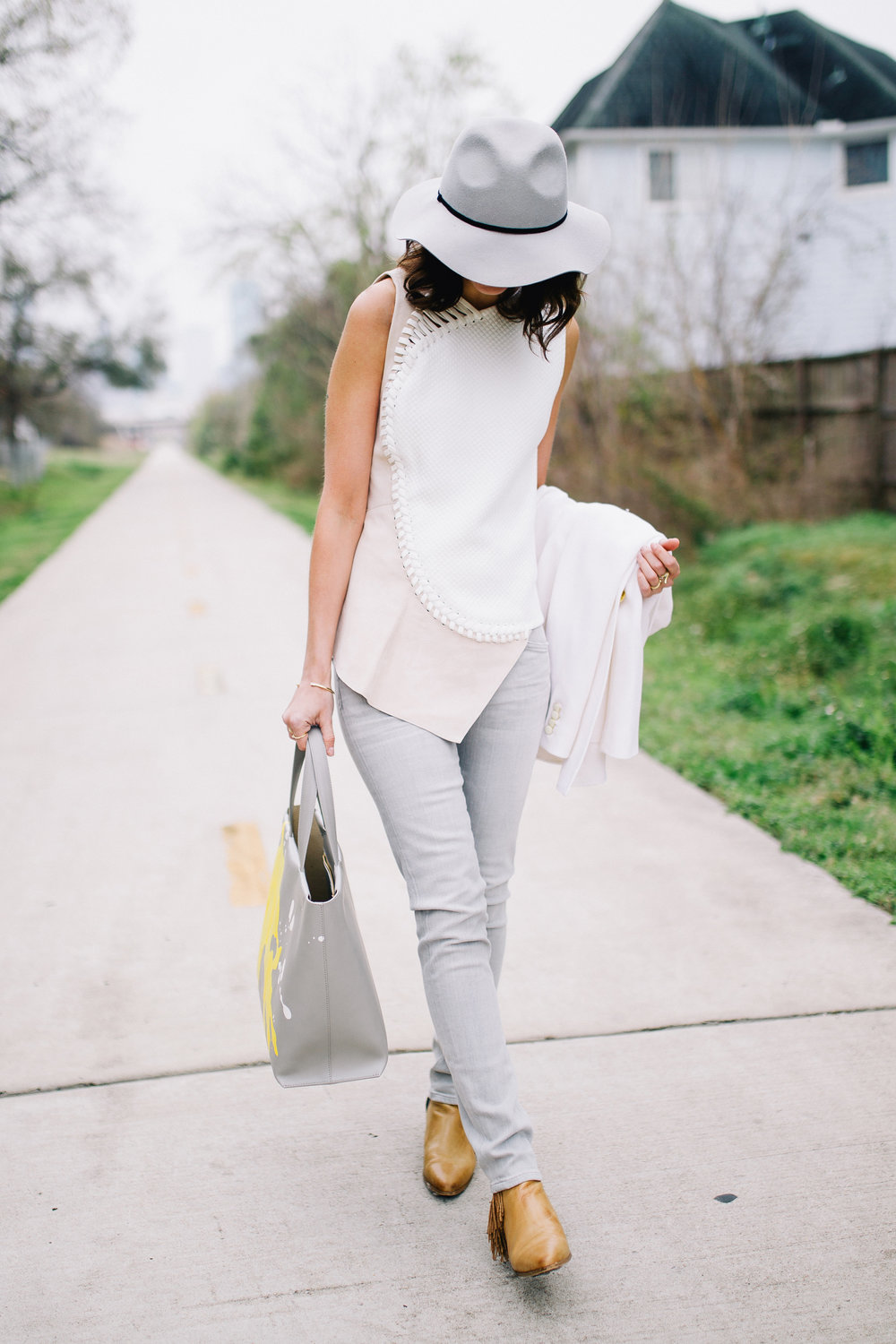 Soft grey, white, and cream spring outfit