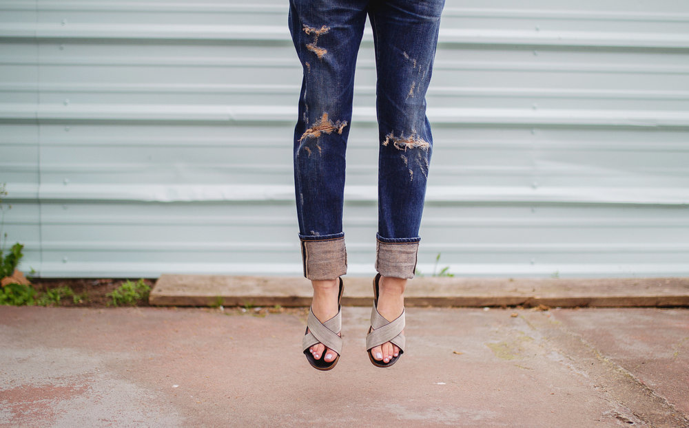 Citizens of Humanity 'Cory' boyfriend jeans with Vince Camuto metal slides