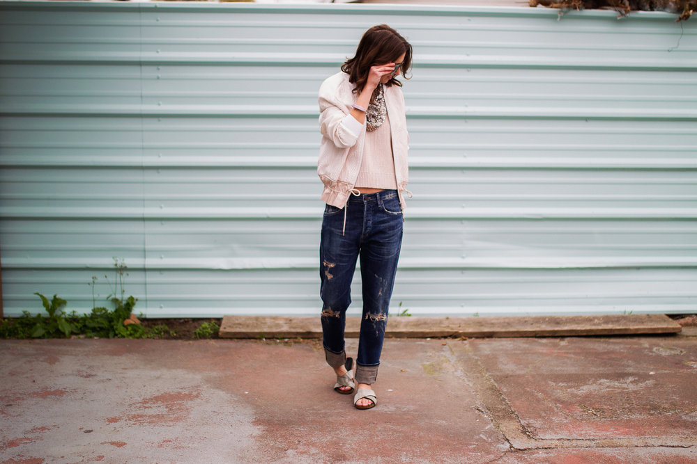"3.1 Phillip Lim blush bomber and knit top with Citizens For Humanity 'Corey"" boyfriend jean and Vince Camuto slide sandals"