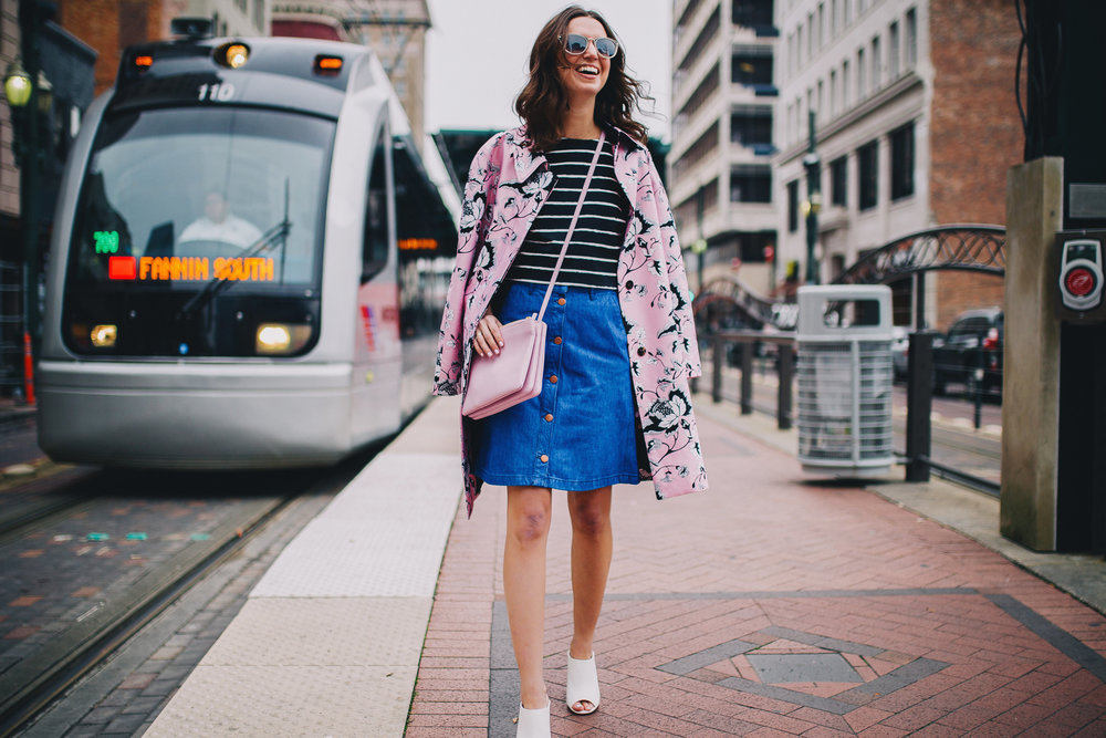 Spring pink statement coat with denim and stripes